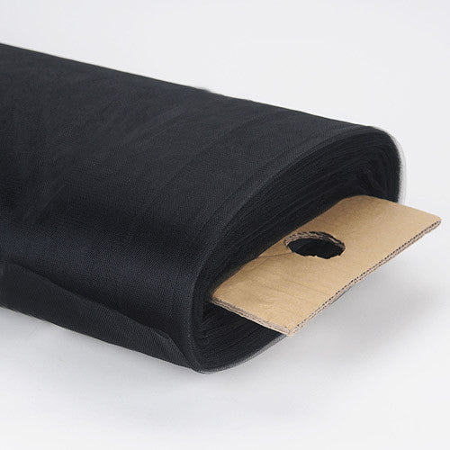 108 Inch Premium Tulle Fabric Bolt Black ( W: 108 inch | L: 50 Yards ) - Ribbons Cheap