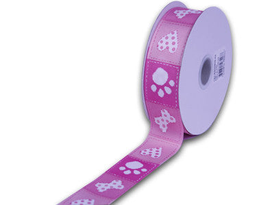 Grosgrain Ribbon Paw Design Hot Pink ( W: 1-1/2 inch | L: 25 Yards ) -