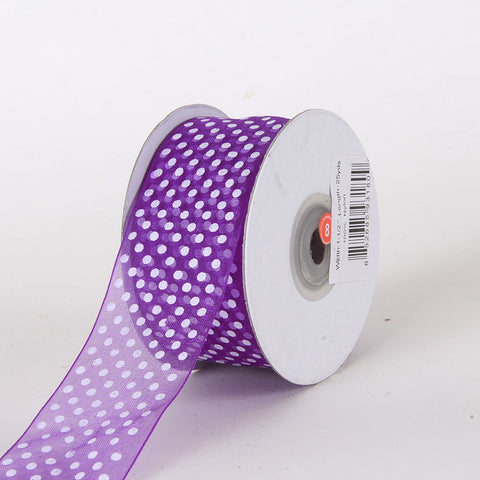 Organza Swiss Dots Ribbon Purple ( 5/8 inch | 25 Yards ) -