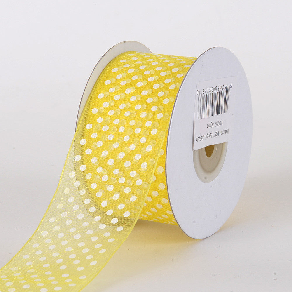 Organza Swiss Dots Ribbon Yellow ( W: 3/8 inch | L: 25 Yards ) -