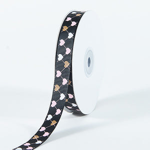 Grosgrain Ribbon Plaid Sweetheart Print Black ( 5/8 inch | 25 Yards ) -