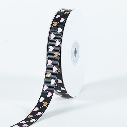 Grosgrain Ribbon Plaid Sweetheart Print Black ( 5/8 inch | 25 Yards )