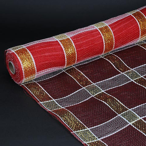 Poly Deco Xmas Check Mesh Metallic Stripe Red White Gold ( 21 Inch x 10 Yards ) -