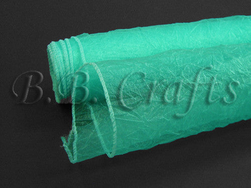 Aqua  Premium Crinkle Organza Overlays  ( W: 24 inch | L: 10 Yards )- Ribbons Cheap