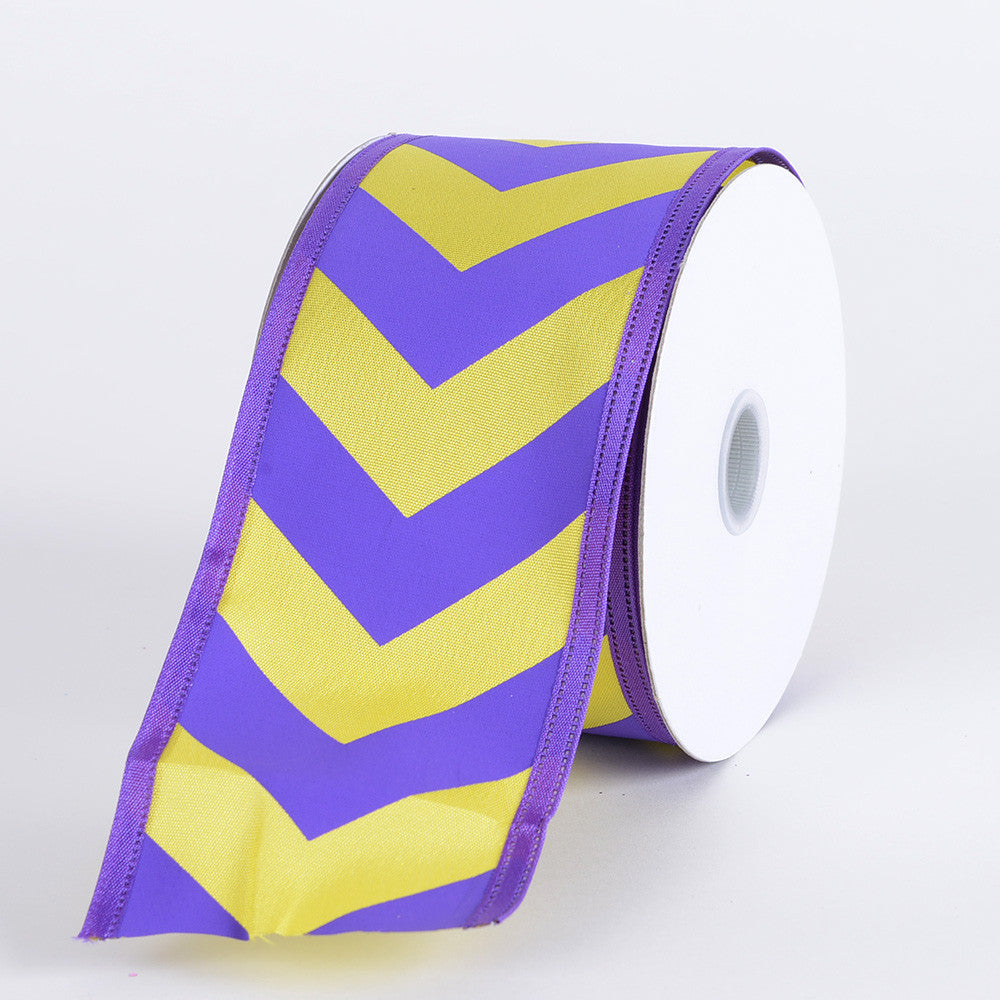 Chevron Print Satin Ribbon Purple with Yellow ( W: 1-1/2 inch | L: 10 Yards ) -