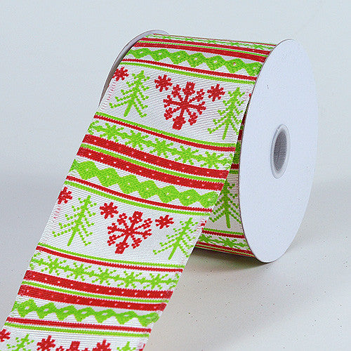 Christmas Ribbon Green Red ( 2-1/2 Inch x 10 Yards ) -
