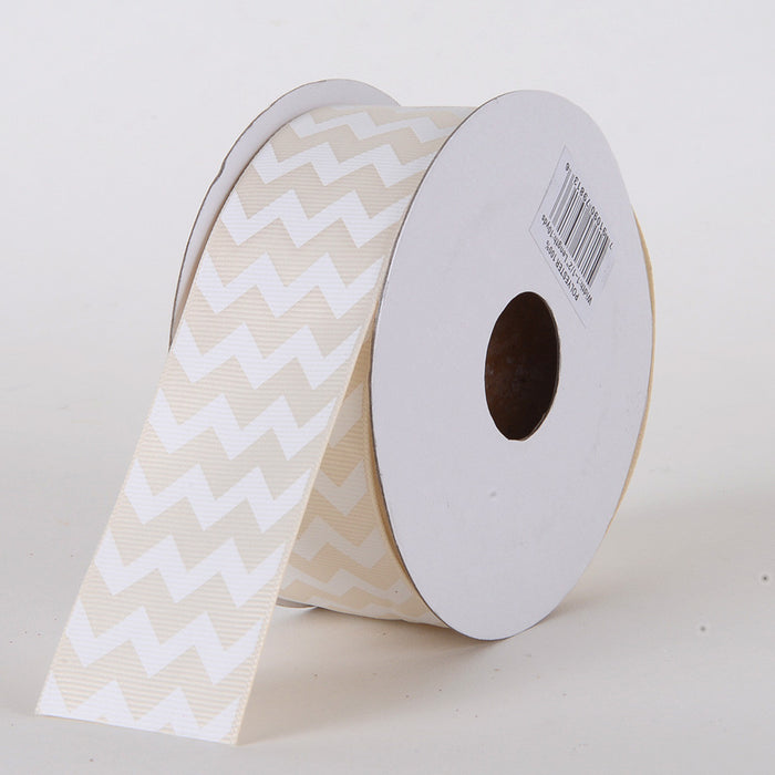 Grosgrain Chevron Ribbon Ivory ( 1-1/2 inch | 10 Yards )