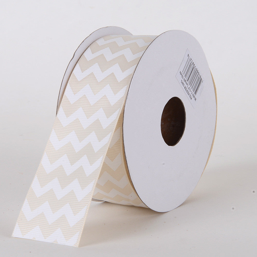 Grosgrain Chevron Ribbon Ivory ( W: 5/8 inch | L: 10 Yards ) -