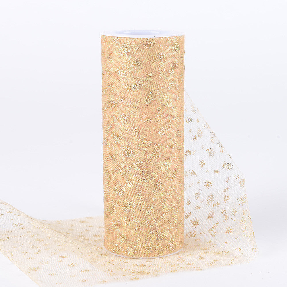 6 Inch x 10 Yards Sparkle Dot Tulle Gold ( W: 6 inch | L: 10 yards ) -