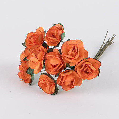 Paper Rose Flowers (10x12) Orange ( 12 Paper Flowers )