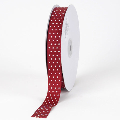 Grosgrain Ribbon Swiss Dot Burgundy with White Dots ( 7/8 inch | 50 Yards ) -