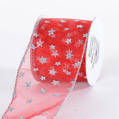 Christmas Ribbon Red with Silver ( 2-1/2 Inch x 10 Yards ) -
