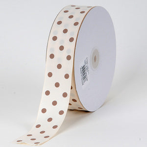 Grosgrain Ribbon Polka Dot Ivory with Toffee Dots ( W: 3/8 inch | L: 50 Yards ) -