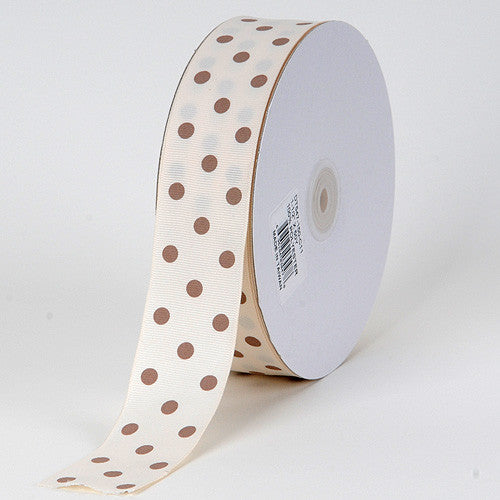 Grosgrain Ribbon Polka Dot Ivory with Toffee Dots ( W: 3/8 inch | L: 50 Yards )