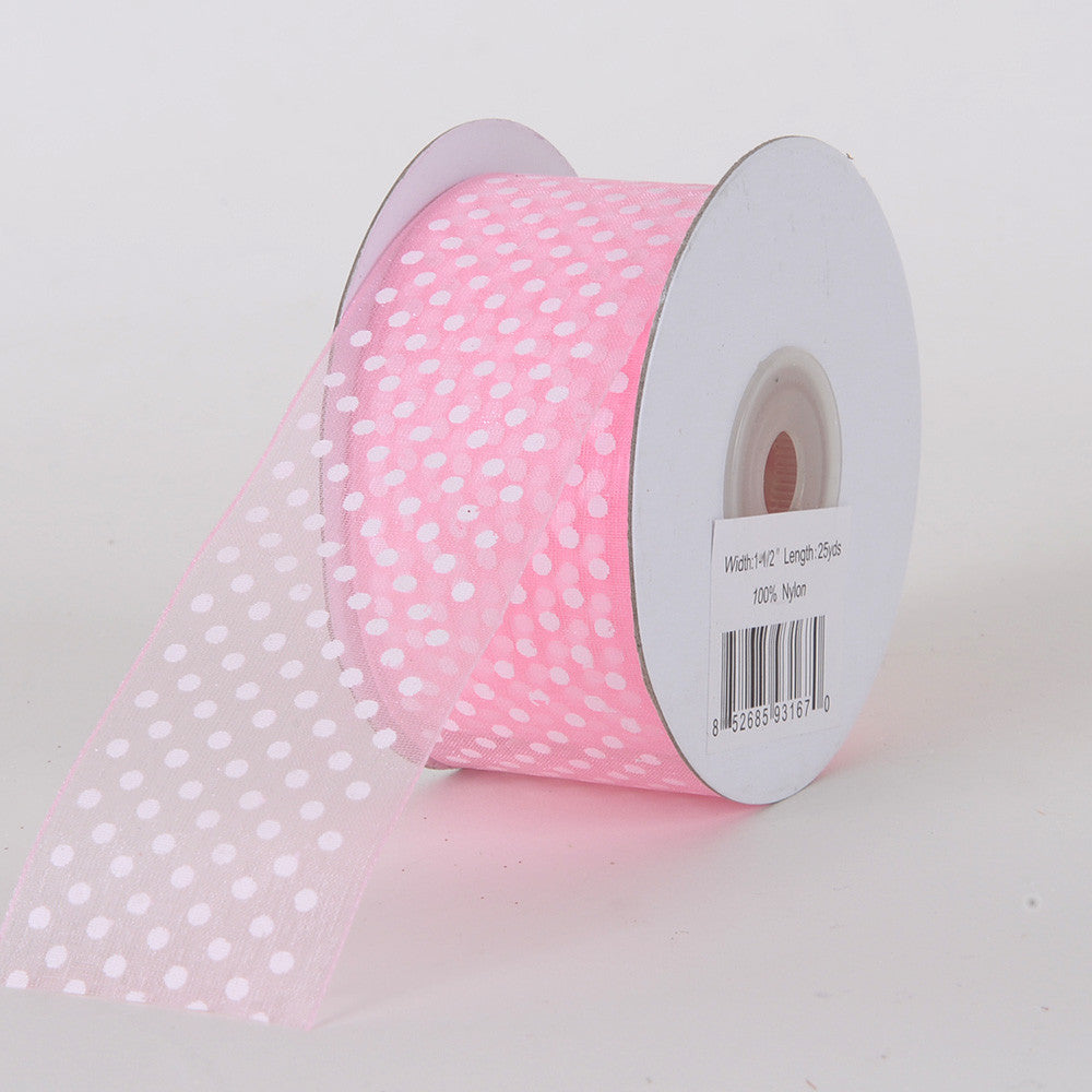 Organza Swiss Dots Ribbon Light Pink ( W: 3/8 inch | L: 25 Yards ) -