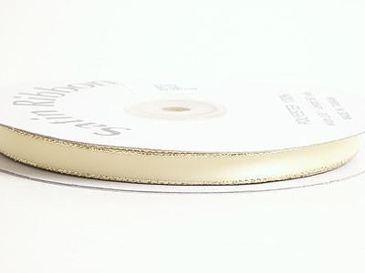 Satin Ribbon Lurex Edge Baby Maize with Gold Edge ( W: 3/8 inch | L: 50 Yards )