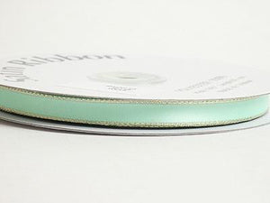 Satin Ribbon Lurex Edge Mint with Gold Edge ( 1/8 inch | 100 Yards )