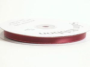 Satin Ribbon Lurex Edge Burgundy with Gold Line ( W: 3/8 inch | L: 50 Yards )