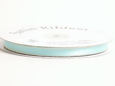 Satin Ribbon Lurex Edge Aqua Blue with Gold Edge ( 1/4 inch | 50 Yards )