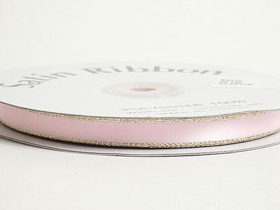 Satin Ribbon Lurex Edge Light Pink with Gold Edge ( 1/4 inch | 50 Yards )