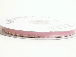 Satin Ribbon Lurex Edge Mauve with Gold Edge ( 1/8 inch | 100 Yards )