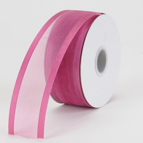 Organza Ribbon Two Striped Satin Edge Colonial Rose ( W: 3/8 inch | L: 25 Yards ) -