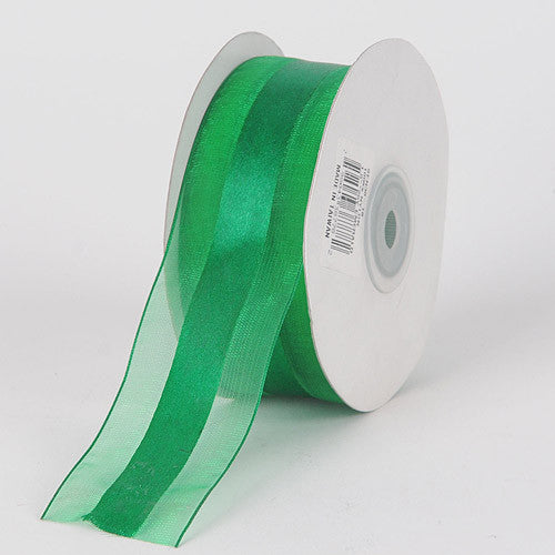 Organza Ribbon Satin Center Emerald ( W: 5/8 inch | L: 25 Yards ) -