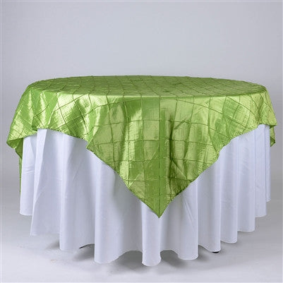Apple Green  85 inch x 85 inch Square Pintuck Satin Overlay- Ribbons Cheap