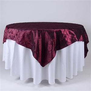 Burgundy  85 inch x 85 inch Square Pintuck Satin Overlay- Ribbons Cheap