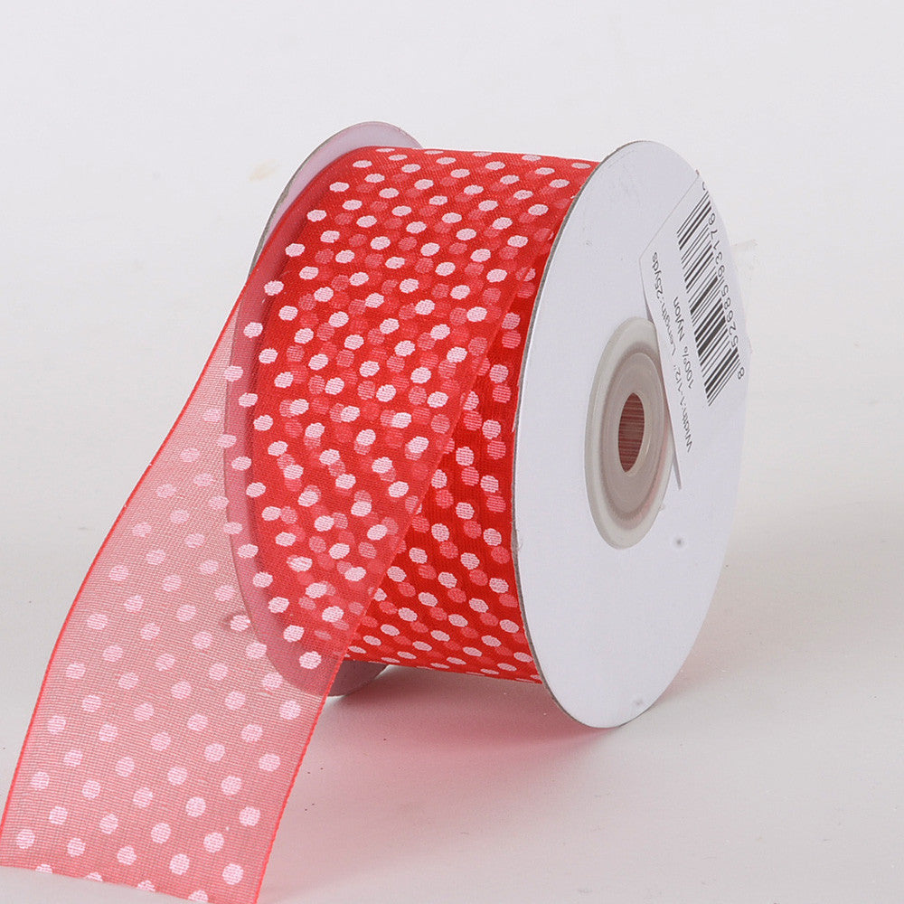 Organza Swiss Dots Ribbon Melon ( W: 3/8 inch | L: 25 Yards ) -