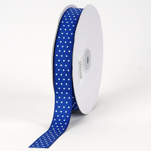 Grosgrain Ribbon Swiss Dot Royal Blue with White Dots ( 5/8 inch | 50 Yards ) -