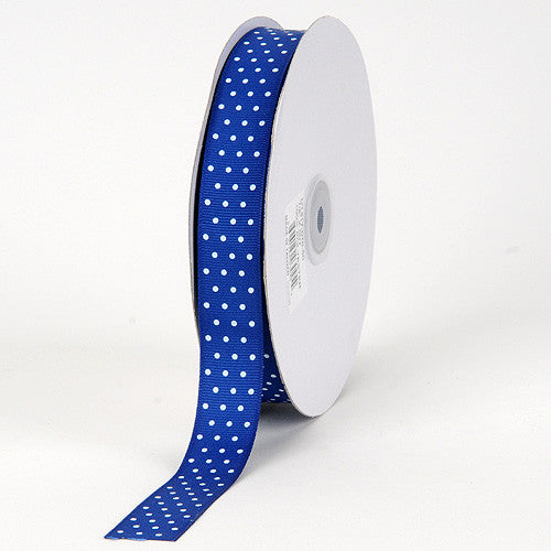 Grosgrain Ribbon Swiss Dot Royal Blue with White Dots ( W: 3/8 inch | L: 50 Yards ) -