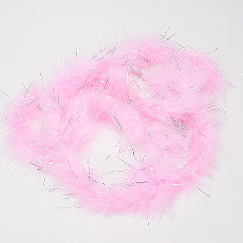 Mini Feather Decorations Light Pink Metallic ( 2 Yards Boa )