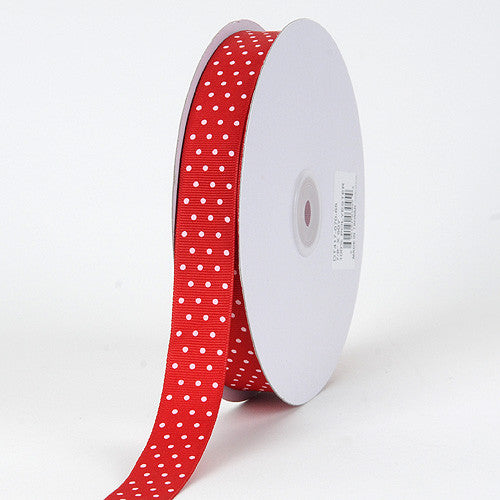 Grosgrain Ribbon Swiss Dot Red with White Dots ( W: 3/8 inch | L: 50 Yards ) -