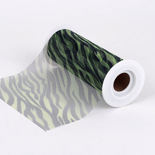 Apple Green 6 Inch Organza Animal Print ( W: 6 inch | L: 10 Yards ) -