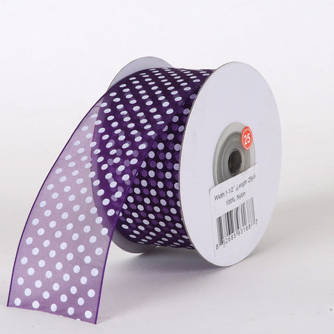 Organza Swiss Dots Ribbon Plum ( W: 3/8 inch | L: 25 Yards ) -