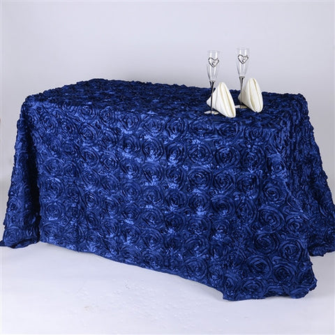 Navy Blue 90 Inch x 132 Inch Rosette Tablecloths- Ribbons Cheap