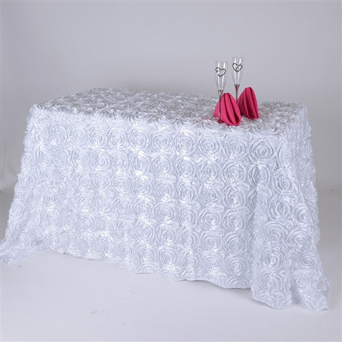 White 90 Inch x 132 Inch Rosette Tablecloths- Ribbons Cheap