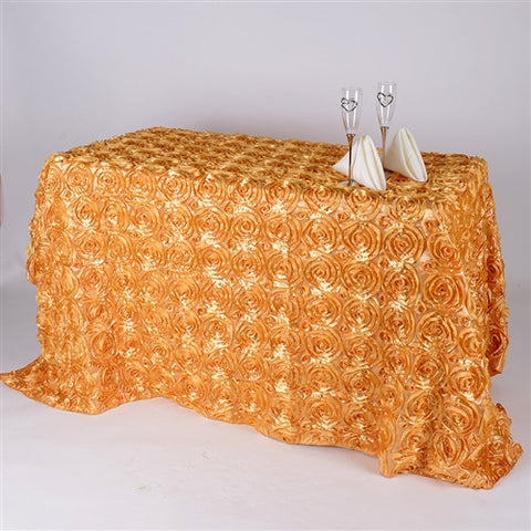 Gold 90 Inch x 156  Inch Rectangle Rosette Tablecloths- Ribbons Cheap