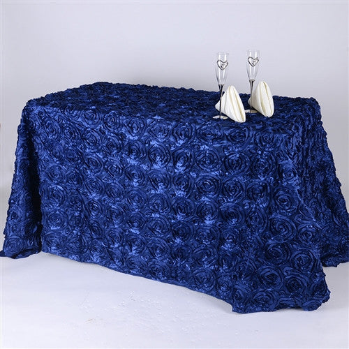 Navy Blue 90 Inch x 156  Inch Rectangle Rosette Tablecloths- Ribbons Cheap