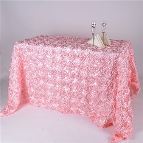 Pink 90 Inch x 156  Inch Rectangle Rosette Tablecloths- Ribbons Cheap