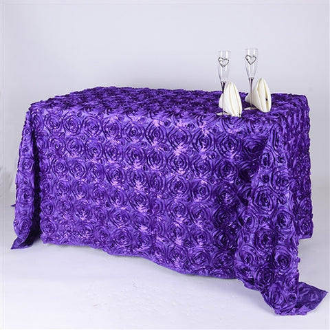 Purple 90 Inch x 156  Inch Rectangle Rosette Tablecloths- Ribbons Cheap