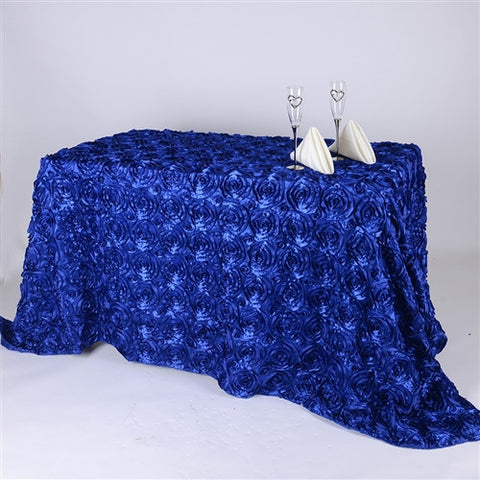 Royal Blue 90 Inch x 156  Inch Rectangle Rosette Tablecloths- Ribbons Cheap