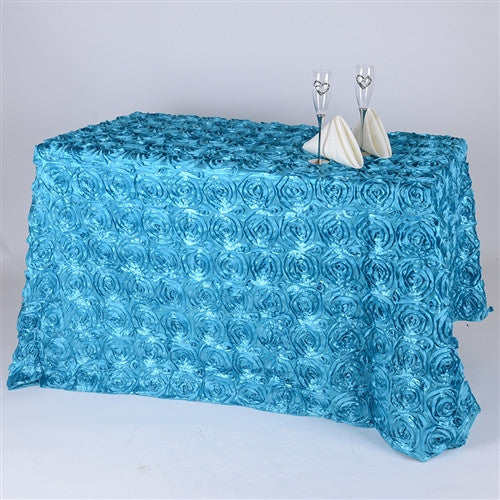 Turquoise 90 Inch x 156  Inch Rectangle Rosette Tablecloths- Ribbons Cheap
