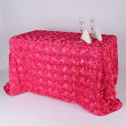 Fuchsia 90 Inch x 156  Inch Rectangle Rosette Tablecloths- Ribbons Cheap