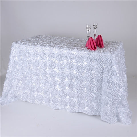 White 90 Inch x 156  Inch Rectangle Rosette Tablecloths- Ribbons Cheap