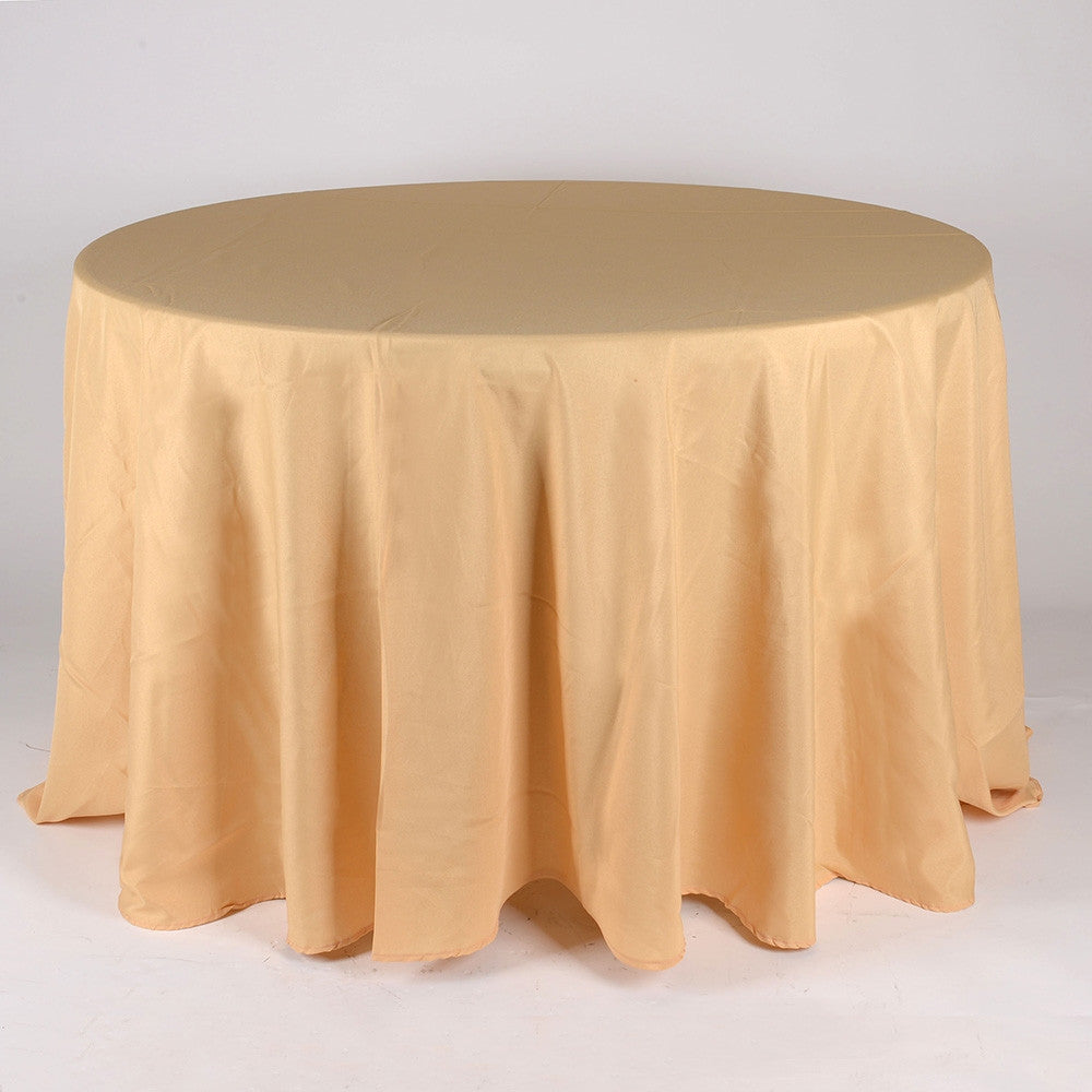 Gold 90 Inch Round Tablecloths  ( W: 90 Inch | Round )- Ribbons Cheap
