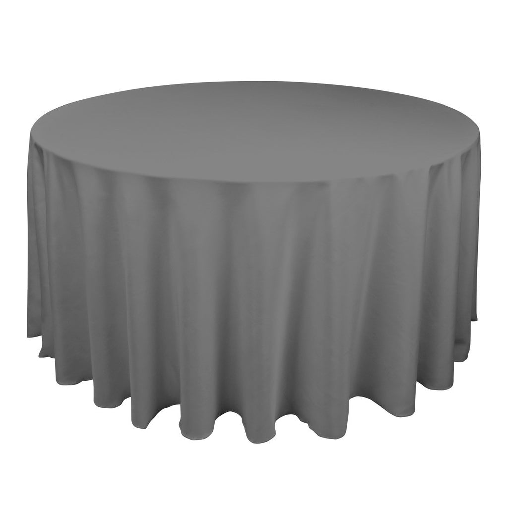 Silver  90 Inch Round Tablecloths  ( W: 90 Inch | Round )- Ribbons Cheap