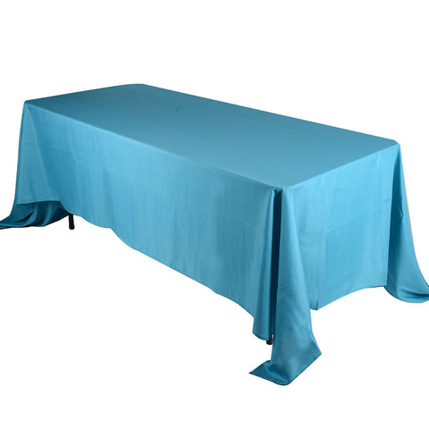 Turquoise  90 x 132 Rectangle Tablecloths  ( 90 inch x 132 inch )- Ribbons Cheap