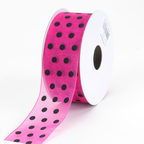 Organza Polka Dot Ribbon Fuchsia with Black Dots ( W: 3/8 inch | L: 25 Yards ) -